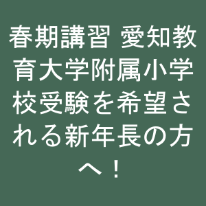 春期講習🌸愛知教育大学附属小学校受験を希望される新年長の方へ!