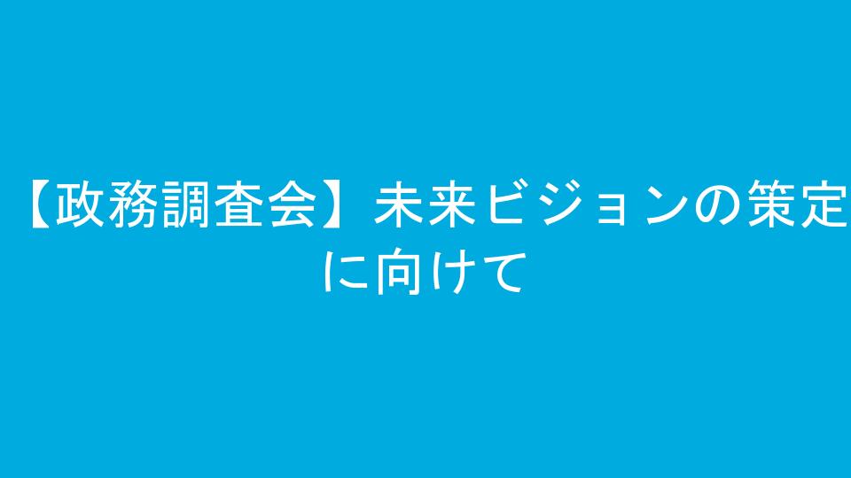 【政務調査会】未来ビジョンの策定に向けて
