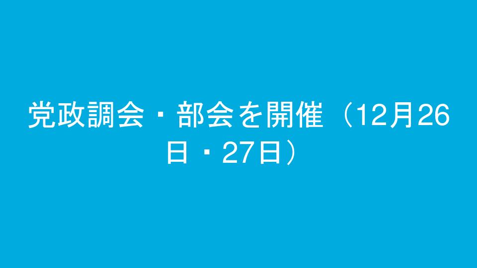 党政調会・部会を開催(12月26日・27日)