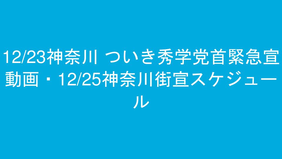 12/23神奈川 ついき秀学党首緊急宣動画・12/25神奈川街宣スケジュール