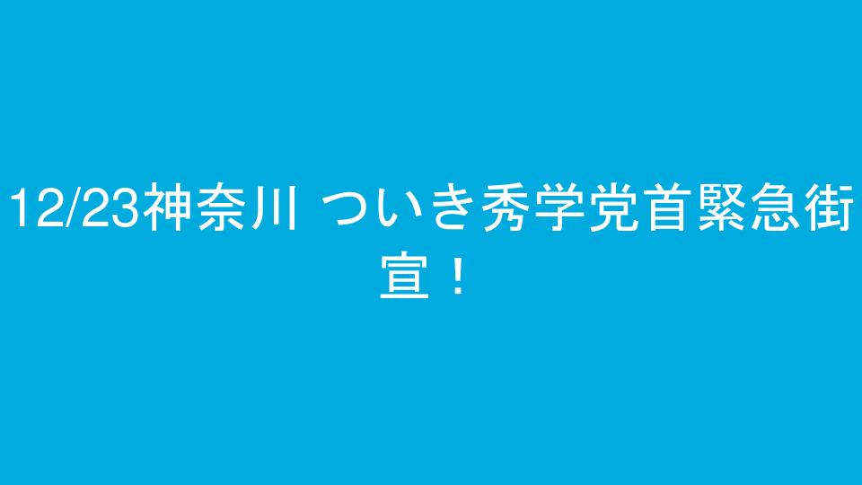 12/23神奈川 ついき秀学党首緊急街宣!
